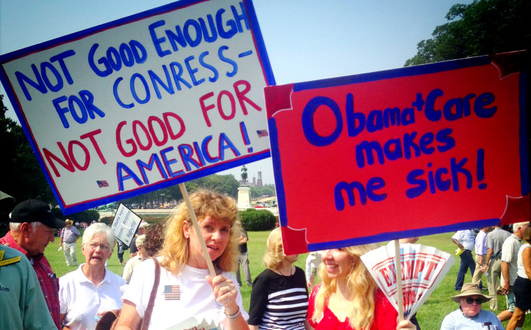 Image: Protesters at a demonstration against Obamacare near the Capitol in Washington on Sept. 10, 2013.