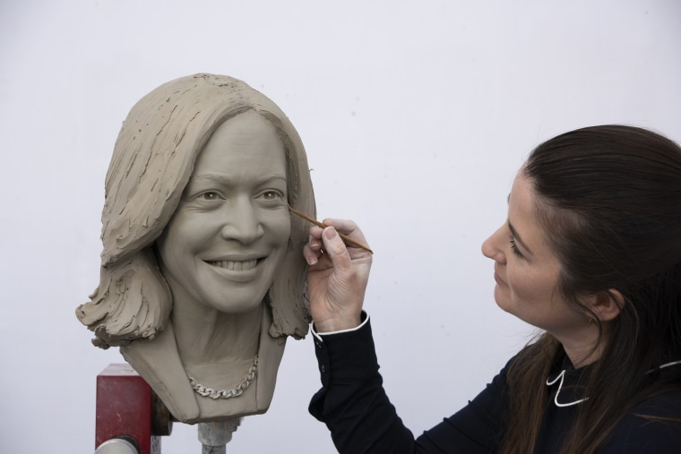 The clay head of Vice President Kamala Harris that will be used to make a wax figure.