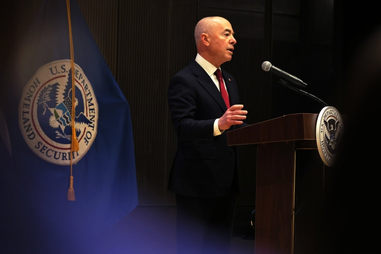 Homeland Security Secretary Alejandro Mayorkas speaks during a naturalization ceremony in New York on April 28, 2021.