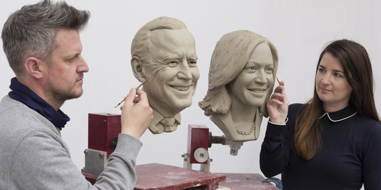 The clay head of President Joe Biden that will be used to make their wax figures.