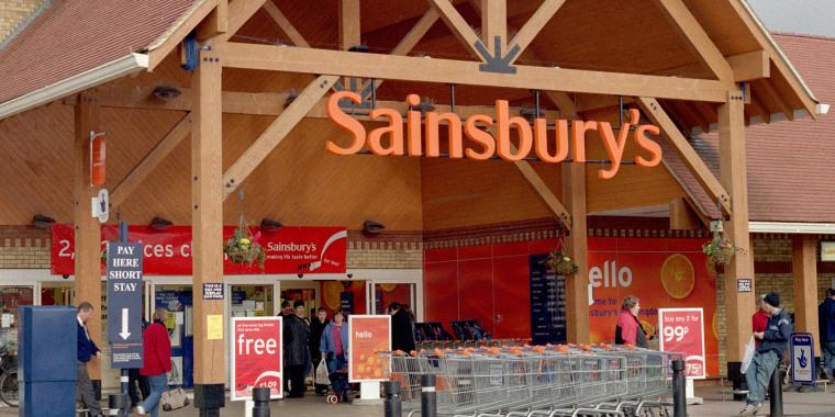 Entrance of Sainsbury supermarket, England, UK