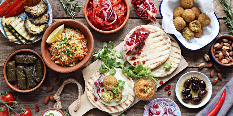 Middle eastern, arabic or mediterranean appetizers table concept