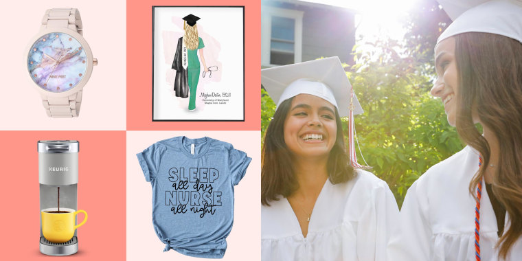 Illustration of two Woman graduating wearing white caps and gowns, a watch, Keurig, Nurse portrait framed and a t-shirt