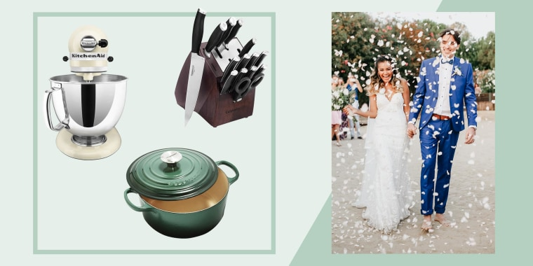 Illustration of a couple getting married and a Calphalon Self-Sharpening 15-Piece Knife Block Set , KitchenAid Artisan 5-Quart Stand Mixer and a Le Creuset