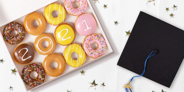 Calling all grads! Krispy Kreme is offering free doughnuts next week.