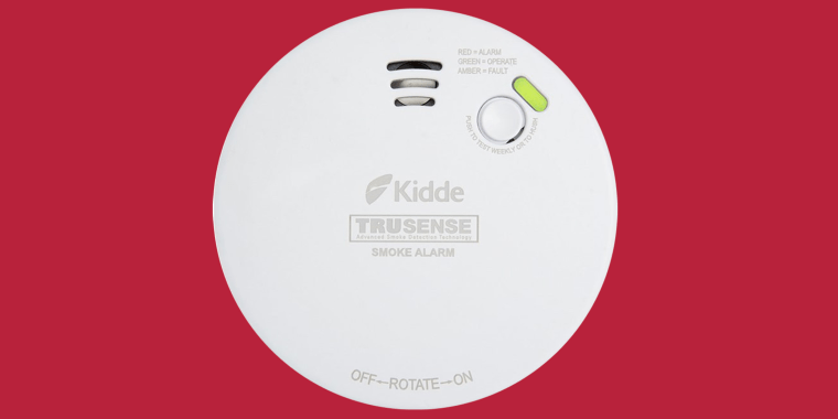"""Recalled Kidde smoke alarms are labeled with a TruSense logo or have """"AMBER=FAULT"""" printed on the front."""