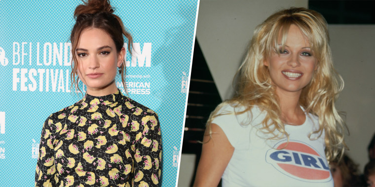 """Lily James perfectly embodies Pamela Anderson in the first looks from the Hulu limited series """"Pam & Tommy."""""""