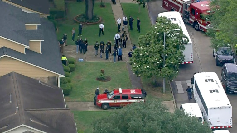 More than 90 people were found inside a home in southwest Houston, and Houston police say they suspect human smuggling, on April 30, 2021.