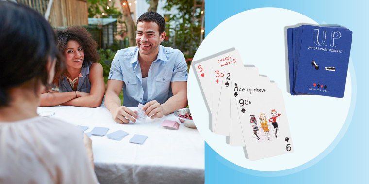 Illustration of Friends playing card game at garden party and Unfortunate Portrait(TM) Fashion Playing Cards
