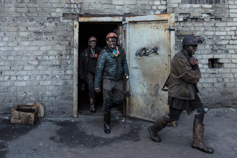Image: Miners leave their shift underground at the Tsentralna coal mine in Toretsk, Donetsk region, Ukraine