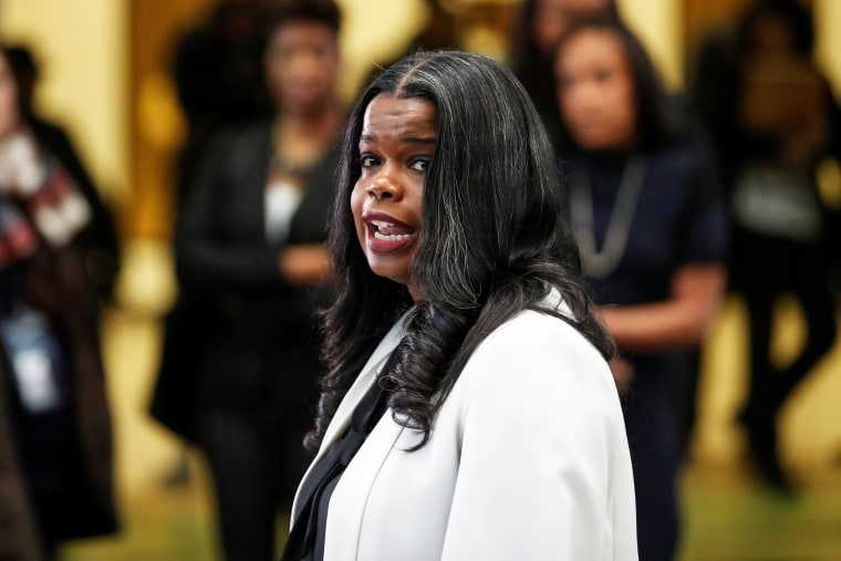 Cook County State's Attorney Kim Foxx speaks to the media on Feb. 23, 2019.