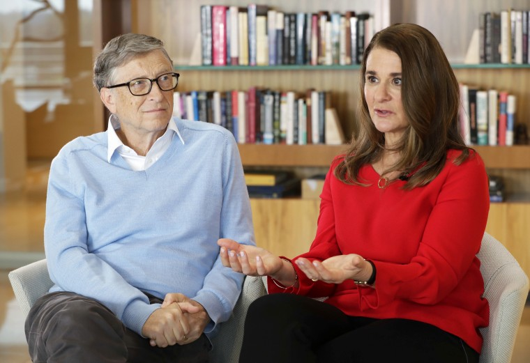 Microsoft co-founder Bill Gates and his wife Melinda take part in an interview with The Associated Press in Kirkland, Wash., on Feb. 1, 2018.