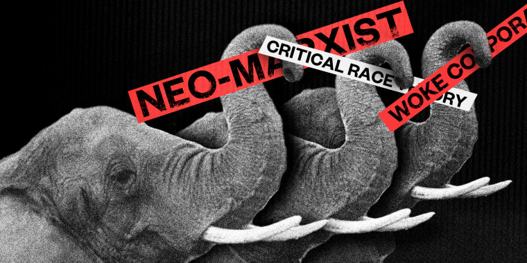 """Photo illustration: Three elephants raise their trunks up holding red and white sticks that read,\""""Neo-marxist\"""", \""""Critical Race Theory\"""" and \""""Woke Corporation\""""."""