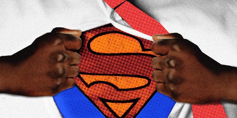 Photo illustration: A Black man's hands reveal the Superman logo under his shirt.