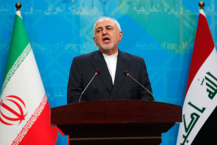Iran's Foreign Minister Mohammad Javad Zarif speaks during a joint press conference with his Iraqi counterpart in Baghdad on April 26, 2021.
