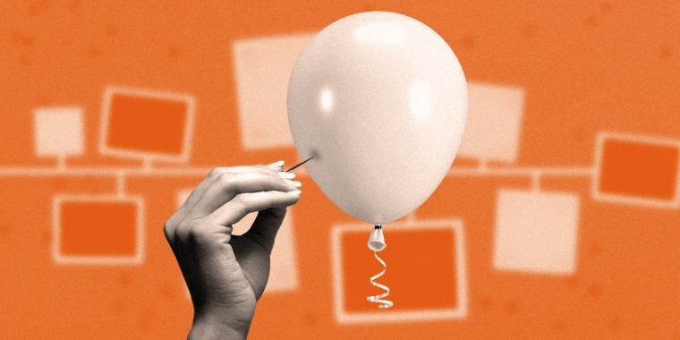 Photo illustration: A hand bursting a balloon against a background with hanging photo cards.