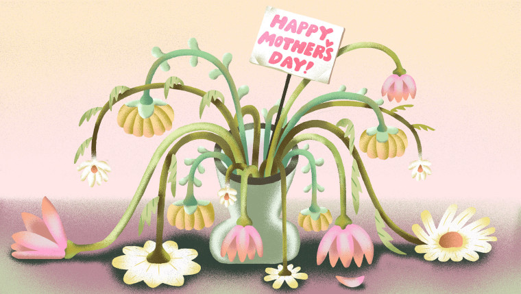 """Illustration of a wilted bouquet of flowers with a \""""Happy Mother's Day!\"""" sign."""