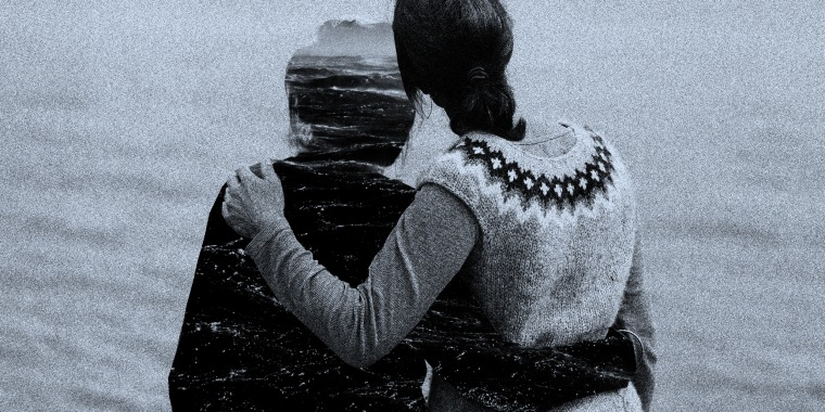 Photo illustration: A daughter holds onto the silhouette of her mother as they look into the ocean.