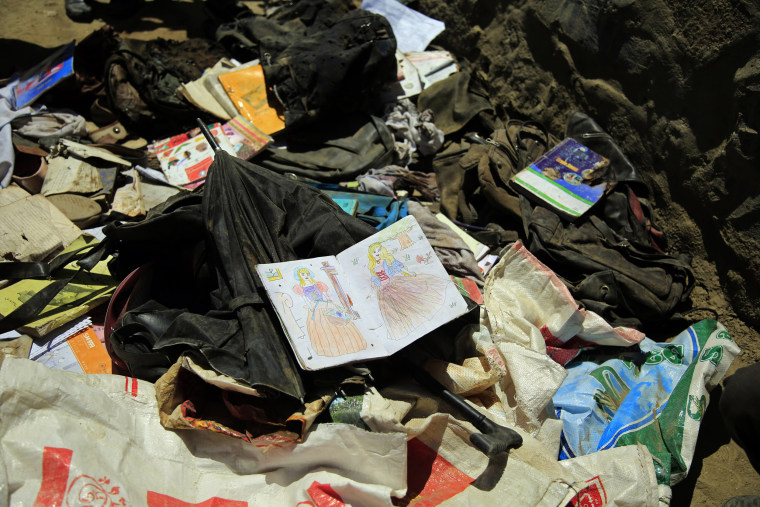 IMAGE: School supplies left behind after deadly bombings near a school in Kabul