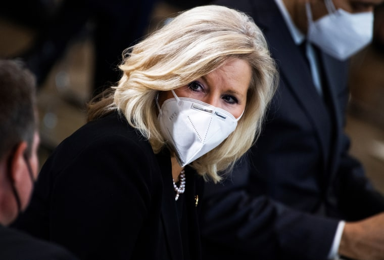 """Republican Conference Chair Rep. Liz Cheney, R-Wyo., attends the service for Capitol Officer William \""""Billy\"""" Evans at the Capitol on April 13, 2021."""