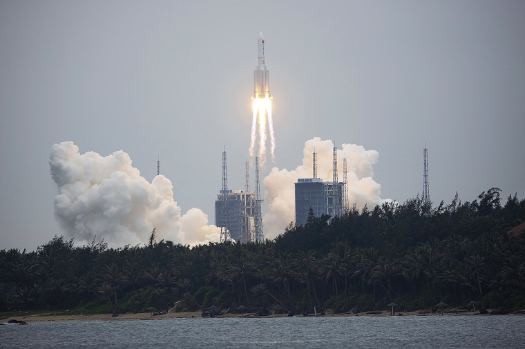 A Long March 5B rocket carrying a module for a Chinese space station lifts off from the Wenchang Spacecraft Launch Site in Wenchang on April 29, 2021.
