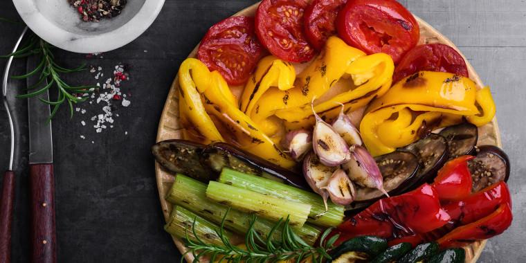 Colorful grilled seasonal vegetables