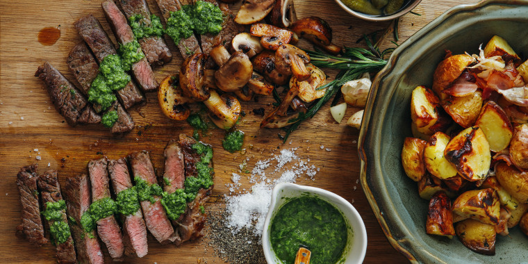 Kansas steak with fresh herb sauce and grilled vegetables
