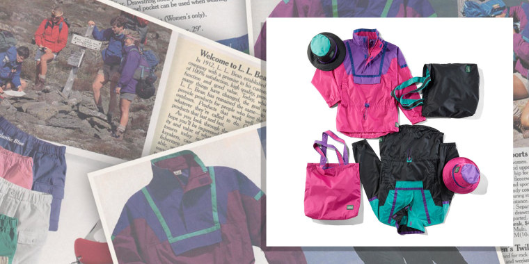 Illustration of the archival L.L Bean '90s All-Sports Anorak and the updated collection being sold