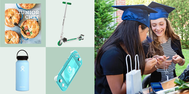 Illustration of two middle school aged girls looking at gifts while wearing graduation caps, Hydro Flask Water Bottle, Williams Sonoma Complete Junior Chef Cookbook, . Razor Scooter and Nintendo Switch Lite