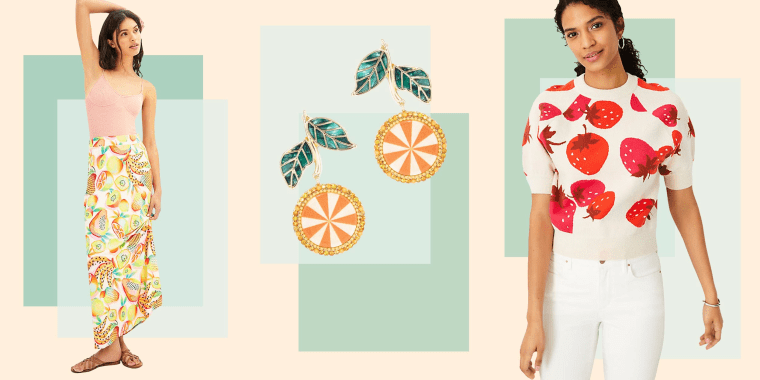 Illustration of SUGARFIX by BaubleBar Crystal Citrus Drop Earrings, Strawberry Short Sleeve Sweater and the Farm Rio Fruits Maxi Skirt