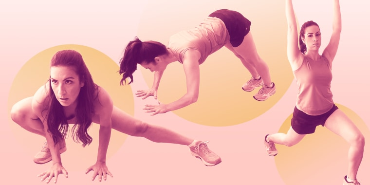 The Insanity workouts are made up of intense, sweat-inducing cardio moves mixed with body-weight strength exercises.