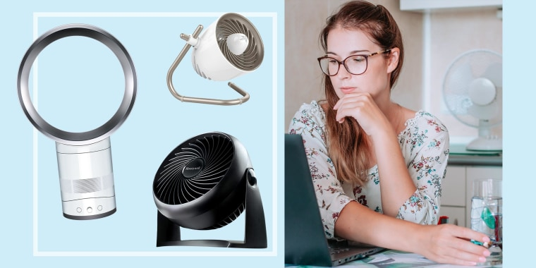 Woman looking at her computer with a desk fan blowing on her and three different desk fans