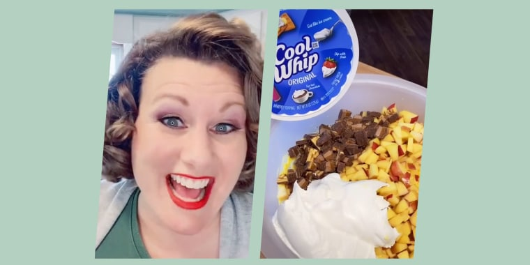 """""""Oh, hi there, and welcome to Minnesota salads that aren't really salads,"""" Amber Estenson Schwarzrock sings at the start of her cooking videos."""