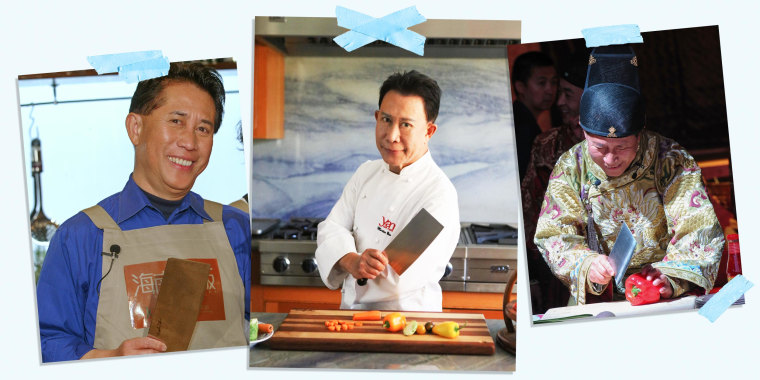 Three Images of Chef Martin Yan holding a butcher knife