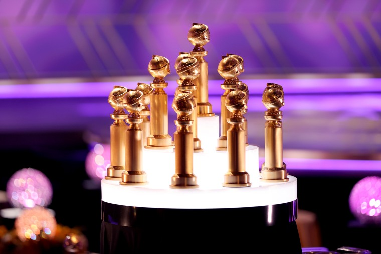 Awards are displayed at the 78th Annual Golden Globe Awards held at The Beverly Hilton on February 28, 2021 in Beverly Hills, Calif.