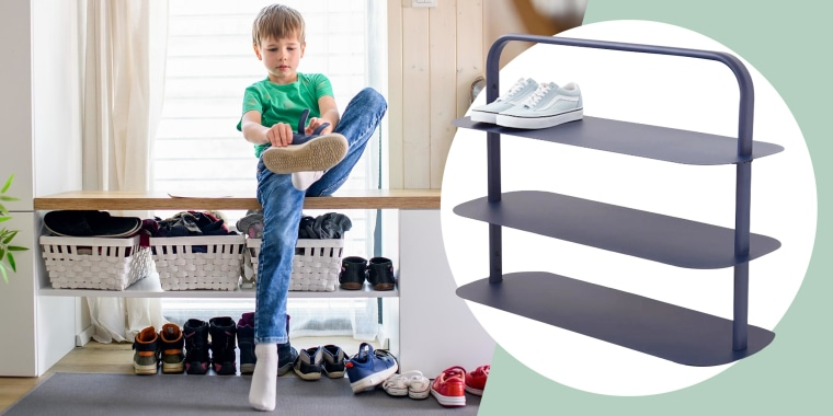 Illustration of a little boy putting on his shoes in a mudroom and a Get Open Spaces shoe rack