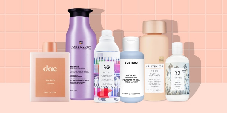 Illustration of 6 different shampoo's that treat hair that has been colored