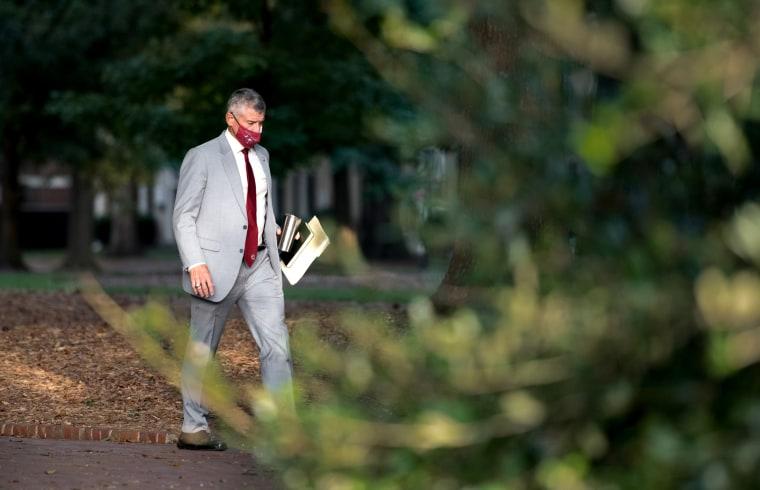University of South Carolina President Robert Caslen walks on campus on Sept. 3, 2020 in Columbia, S.C.