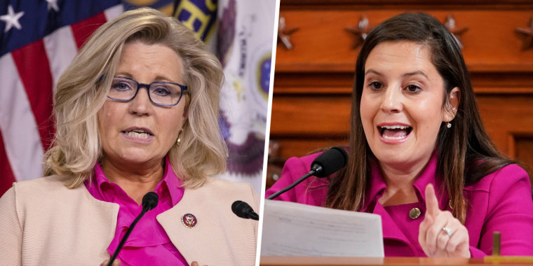 From left to right: Rep. Liz Cheney (R-WY) and Rep. Elise Stefanik, (R-NY)