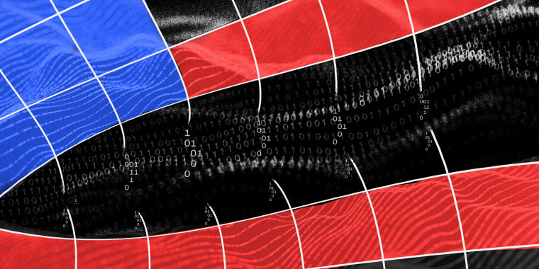 Photo illustration: A grid with blue and red overlay breaks into binary code into a black background.