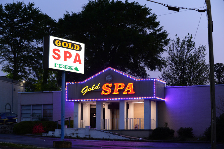 No flowers, candles or other memorial tokens remain outside the Gold Spa four weeks after the deadly shootings in Atlanta and Acworth, Ga., on April 13, 2021.
