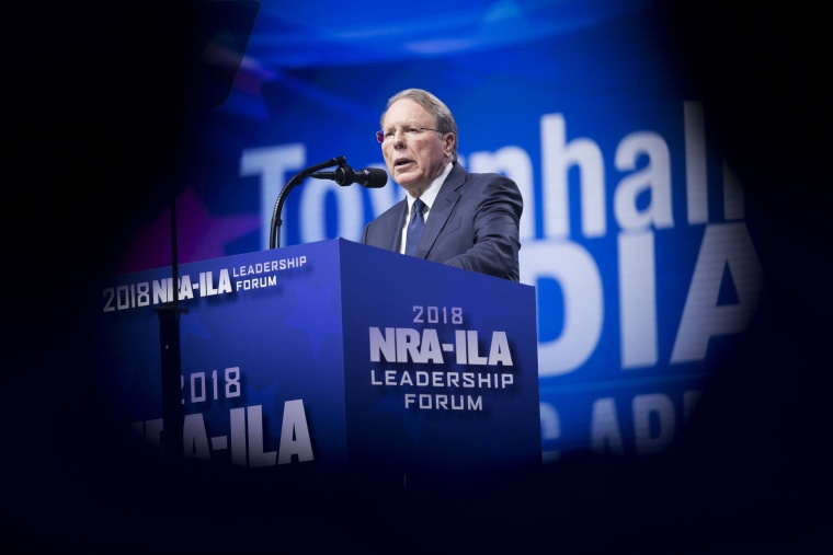 Wayne LaPierre, chief executive officer of the National Rifle Association, speaks during the NRA's annual meeting in Dallas on May 4, 2018.