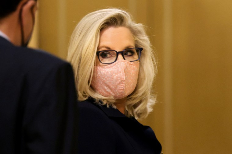Rep. Liz Cheney, R-Wyo., leaves after a House vote at the Capitol on May 11, 2021.