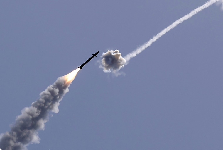 Israel's Iron Dome aerial defense system intercepts a rocket launched from the Gaza Strip over Ashkelon, Israel, on May 11, 2021.