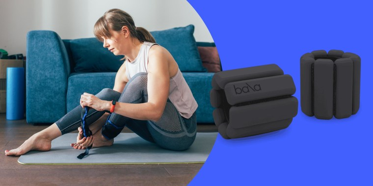 Illustration of a Woman Putting on Ankle Weights for a Home Workout and black Bala ankle weights. Shop the best ankle weights and wrist weights to use in your workout routine including Bala Bangles, FILA wrist weights, Gaiam ankle weights and more.