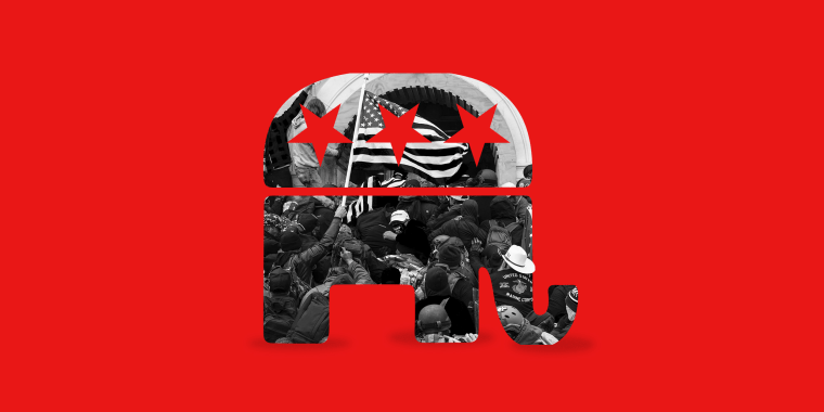 Photo illustration: Image of rioters clashing with police trying to enter Capitol building within the silhouette of the Republican party symbol.