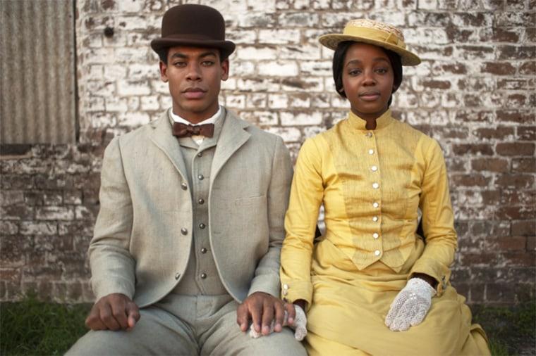 Image: Aaron Pierre (Caesar/Christian), Thuso Mbedu (Cora Randall) in The Underground Railroad