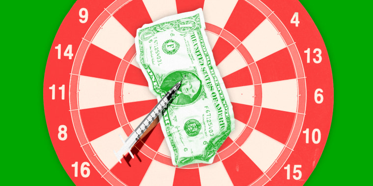 Illustration of a dollar bill being pinned to a darts board by a vaccination syringe.