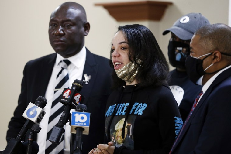 Karissa Hill, daughter of Andre Hill, speaks during a news conference on Feb. 4, 2021, in Columbus, Ohio.