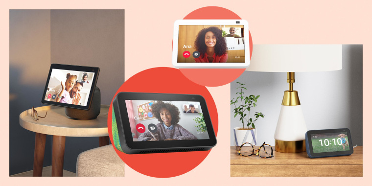 Illustration of different Amazon Echos. New Echo Show smart displays are being released by Amazon, with more powerful cameras and video chat effects. What to know about the new Echo Show devices.